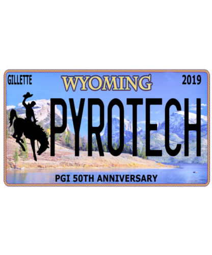 Pyrotech Wyoming Licence Plate