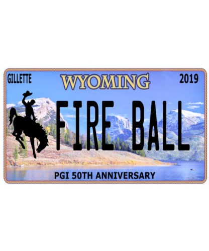 Wyoming Pyro Fire Ball License Plate